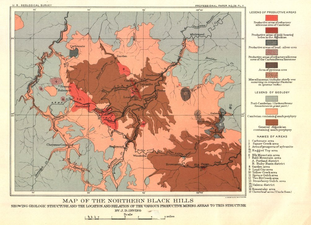 South Dakota Mining History – Black Hills Tourist Map