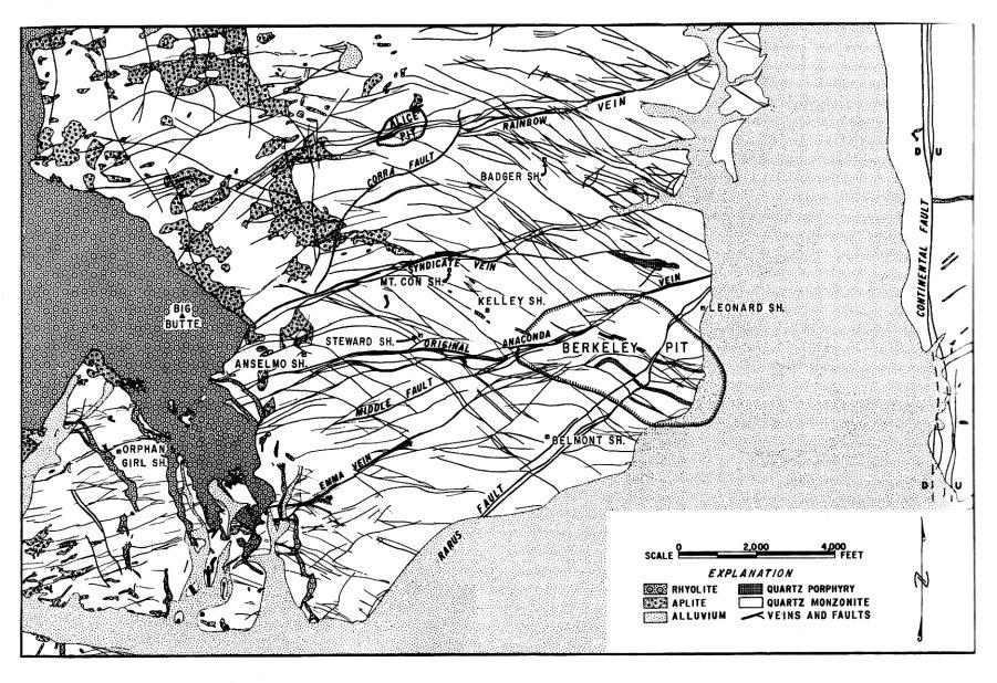 Butte Montana Mining History - Gold vein map us geological virginia