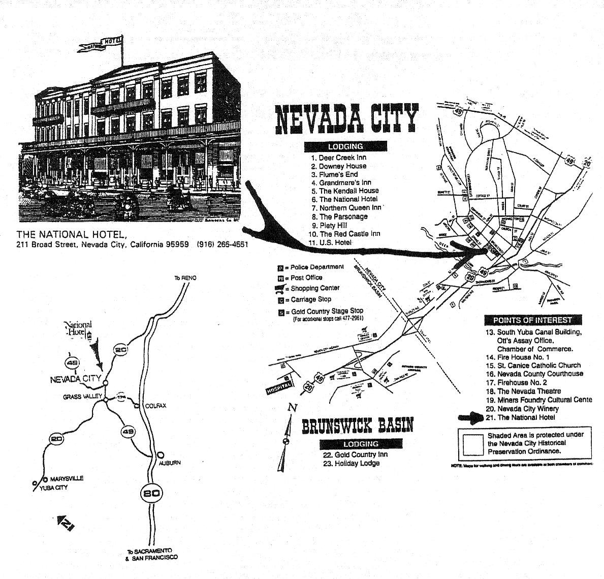 Nevada City Mine Tours - Nevada city map