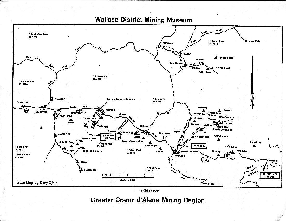 Silver Valley Idaho Map.Wallace Idaho Mining History